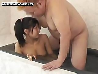 Japanese girl takes a bath and sucks his dick and fucks him