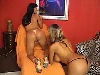 Carla Novaes & Leona Andrev. Shemale Lesbians
